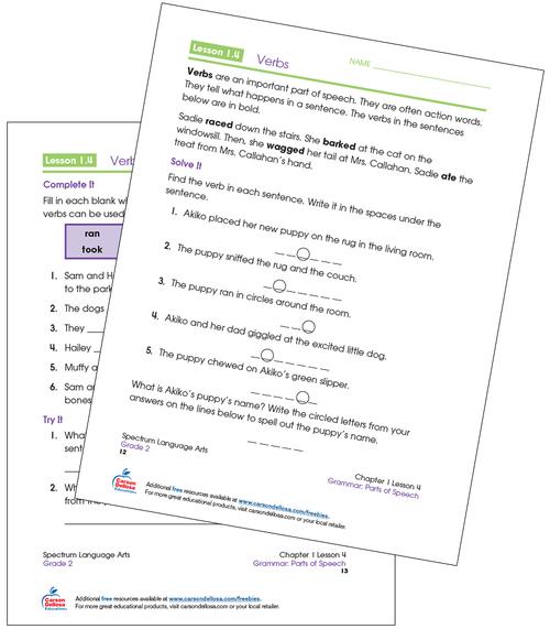 Identifying Verbs Grade 2 Free Printable Sample Image