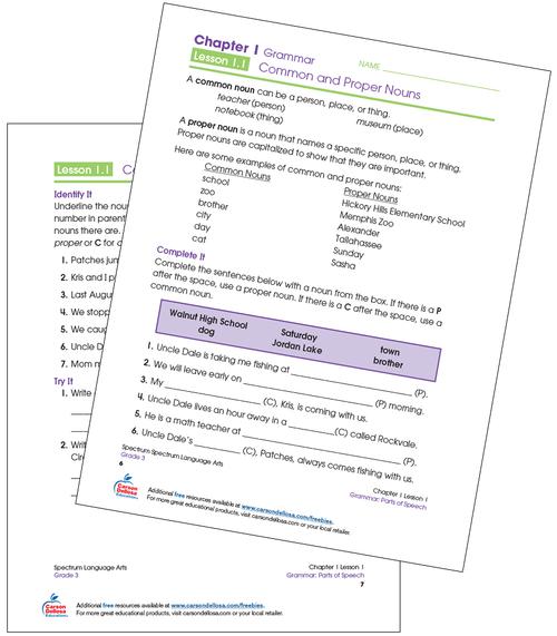 Common and Proper Nouns Grade 3 Free Printable Sample Image