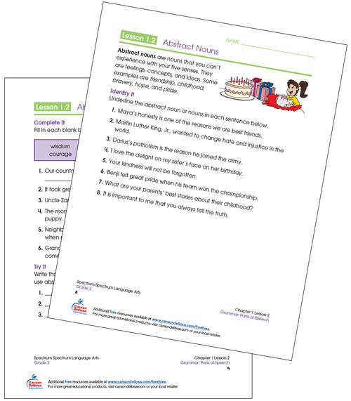 Identifying Abstract Nouns Grade 3 Free Printable Sample Image