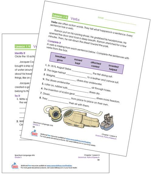 Identifying Verbs Grade 3 Free Printable Sample Image