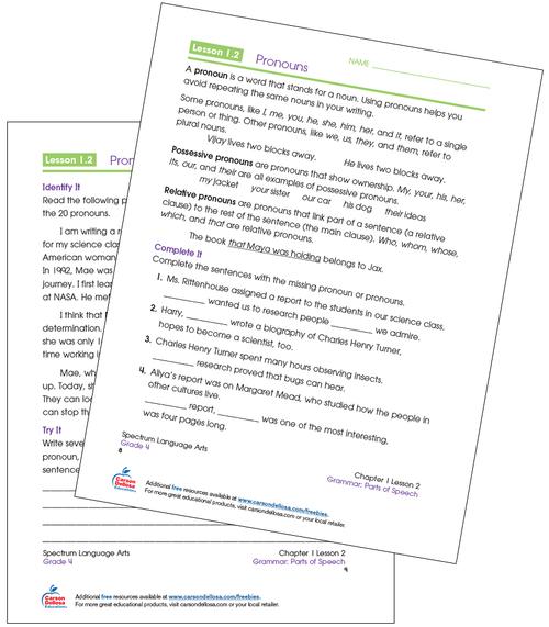 Pronouns Grade 4 Free Printable Sample Image