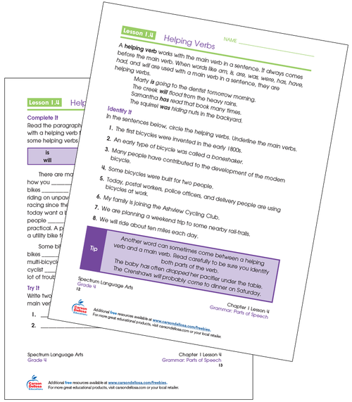 Helping Verbs Grade 4 Free Printable Sample Image