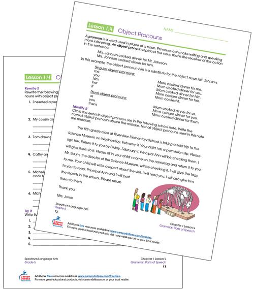 Object Pronouns Grade 5 Free Printable Sample Image