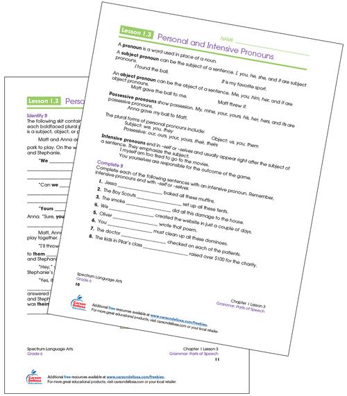 Personal and Intensive Pronouns Grade 6 Free Printable Sample Image