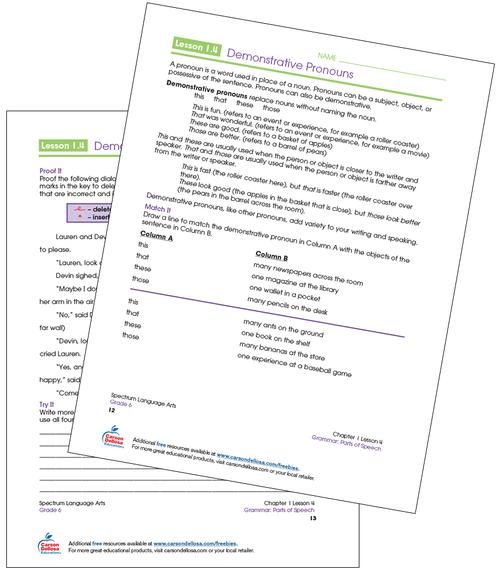 Demonstrative Pronouns Grade 6 Free Printable  Sample Image