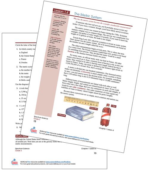 The Metric System Free Printable Sample Image