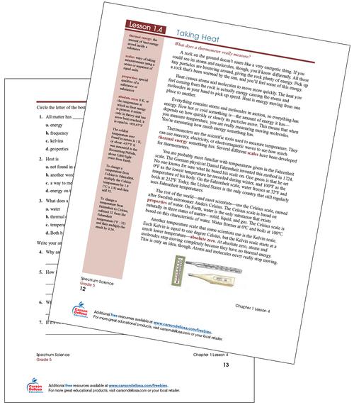 Taking Heat Science Lesson Free Printable Sample Image