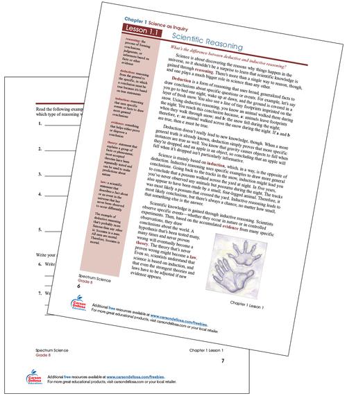 Scientific Reasoning Free Printable Sample Image