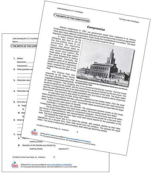 Birth of the Constitution: The Compromise Free Printable Sample Image