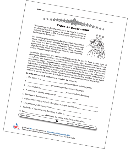 Types of World Governments for Grades 3–5 Free Printable Worksheet
