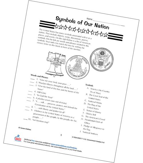 Symbols of Our Nation Grades 5-8 Free Printable Worksheet