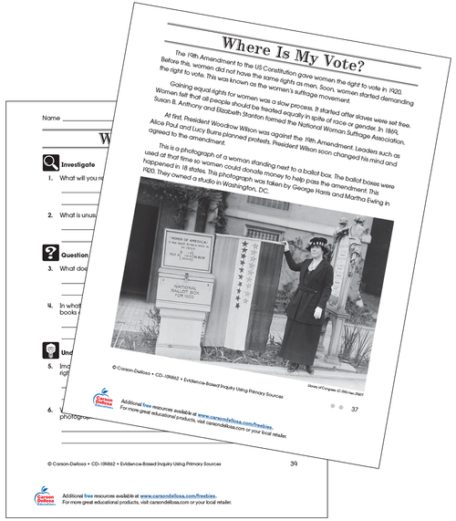 Where Is My Vote Grade 4 (On Grade Level) Free Printable Worksheet