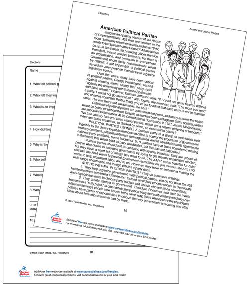 American Political Parties Grades 5–8 Free Printable Worksheet