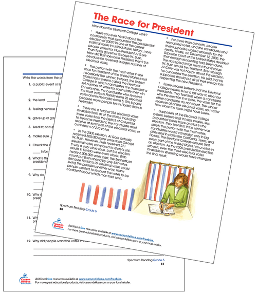 The Race for President Grade 5 Free Printable Worksheet