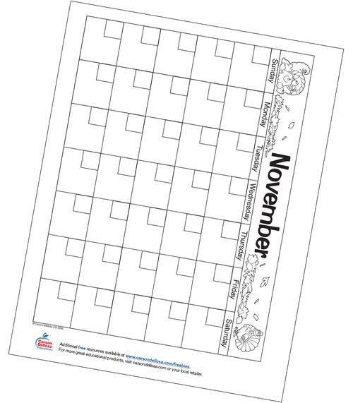 November Calendar Free Printable Resource