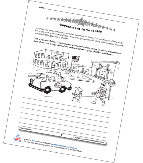 Identify Government in Your Life Grades 3–5 Free Printable Worksheet