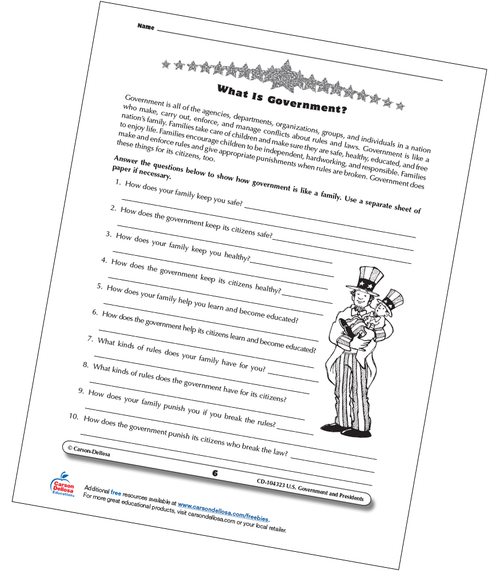 What is Government Grades 3-5 Free Printable Worksheet
