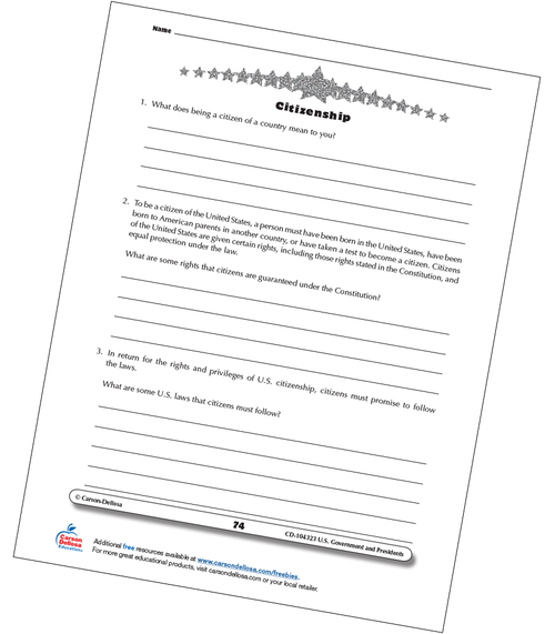 U.S. Citizenship Grades 3-5 Free Printable Worksheet