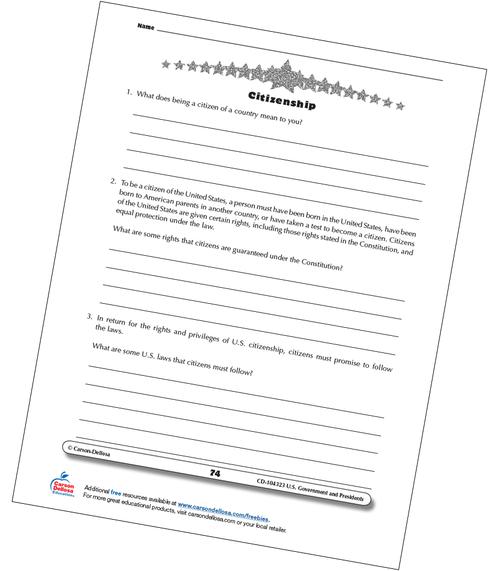 U.S. Citizenship Grades 3-5 Free Printable Worksheet