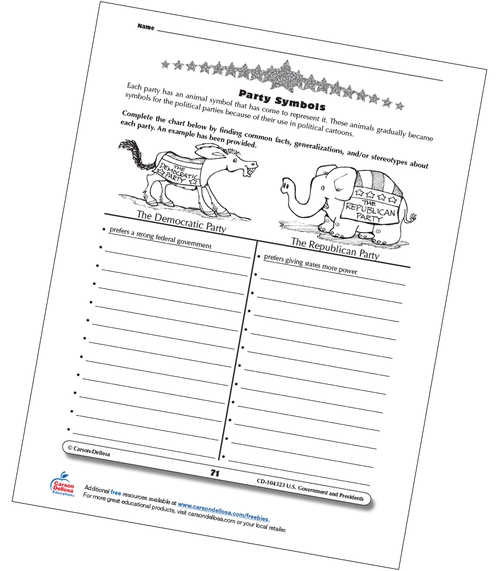 U.S. Political Party Symbols Grades 3-5 Free Printable Worksheet