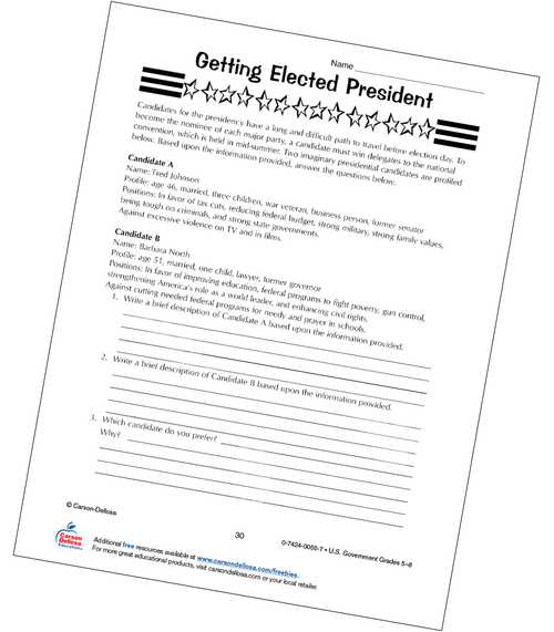 Getting Elected President in the U.S. Grades 5-8 Free Printable Worksheet
