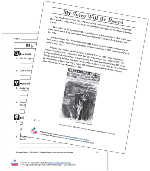My Voice Will Be Heard Through Voting Grade 3 (Below Grade Level) Free Printable Worksheet