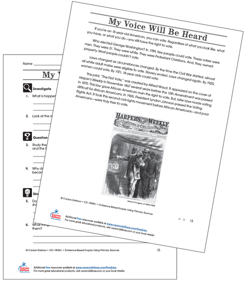 My Voice Will Be Heard Through Voting Grade 3 (On Grade Level) Free Printable Worksheet
