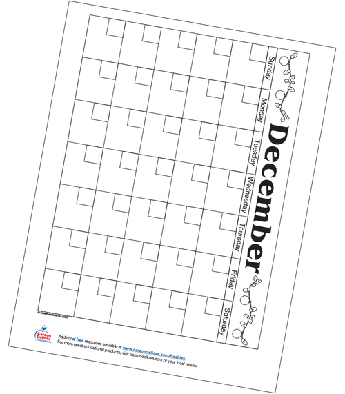 December Calendar Free Printable Resource