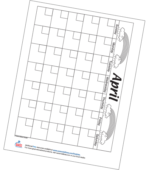 April Calendar Free Printable Resource
