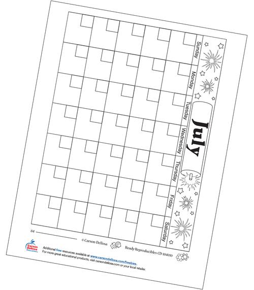 July Calendar Free Printable