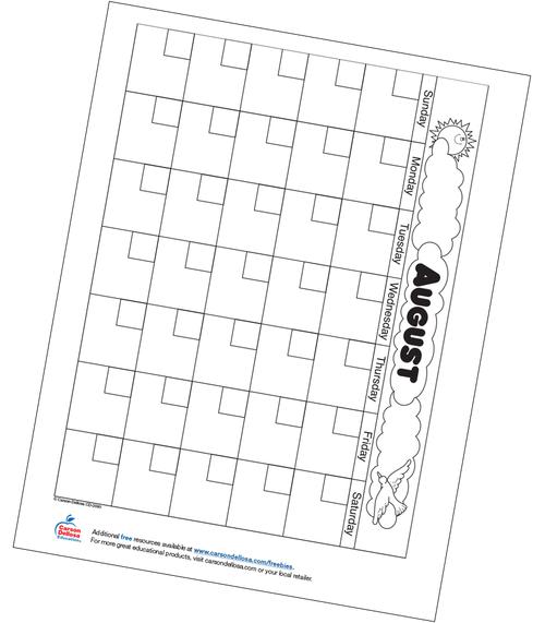 August Calendar Free Printable Resource