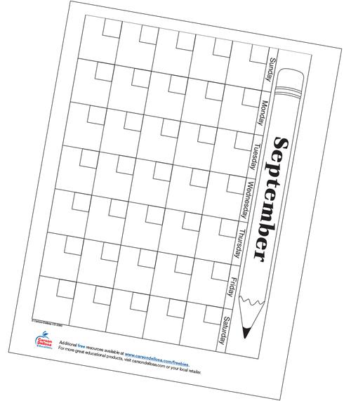 September Calendar Free Printable  Resource