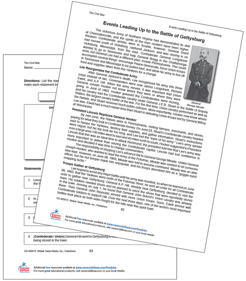 Events Leading Up to the Battle of Gettysburg Grade 5-12 Free Printable Worksheet