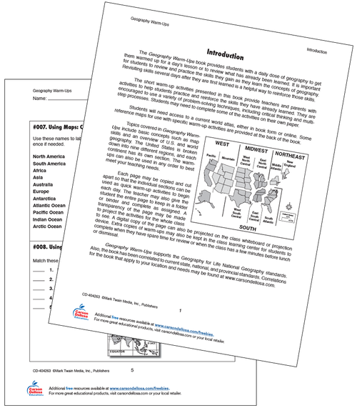 16 Using Maps Class Warm-Ups Grade 5-8 Free Printable Worksheet