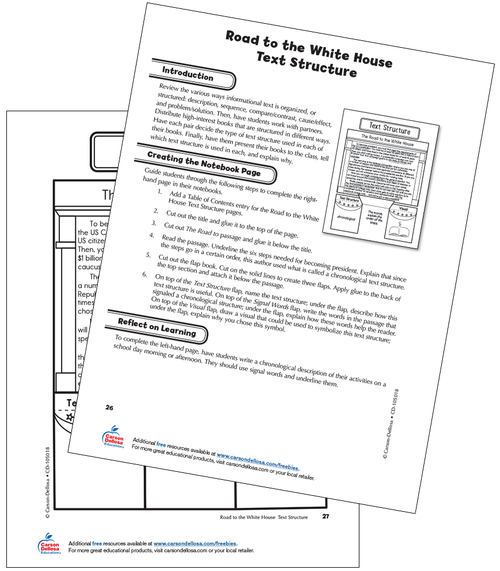 The Road to the White House Text Structure Grade 5 Interactive Free Printable Worksheet