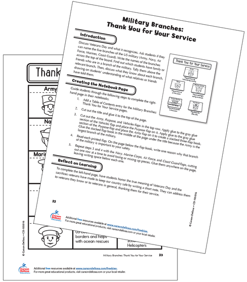 Military Branches: Thank You for Your Service Grade 3 Interactive Free Printable Activity