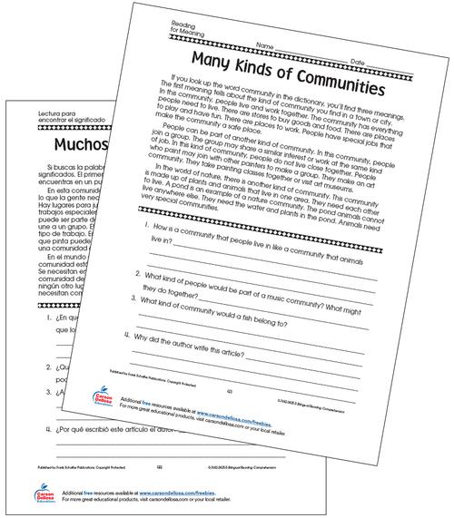 Many Kinds of Communities Grade 5 Bilingual Spanish Free Printable