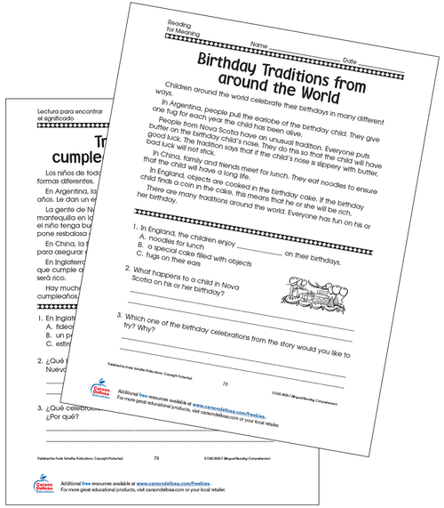 Birthday Traditions from Around the World Grade 4 Bilingual Spanish Free Printable Worksheet