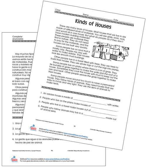 Different Kinds of Houses Grade 4 Bilingual Free Printable Worksheet