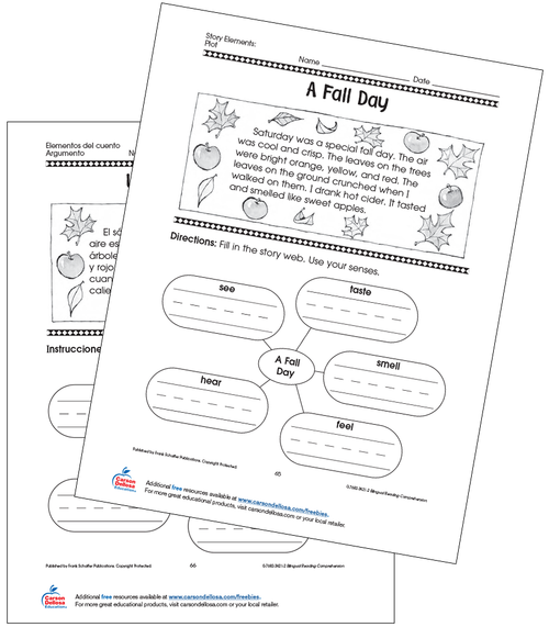 A Fall Day Grade 1 Bilingual Free Printable Worksheet