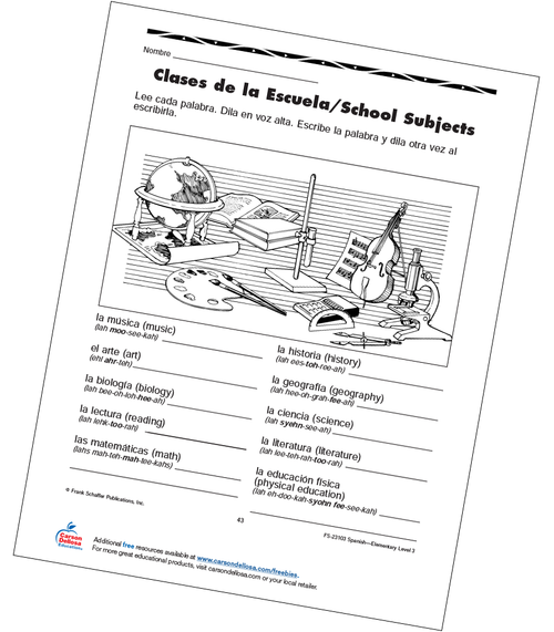 School Subjects Grade 3 Bilingual Free Printable Worksheet