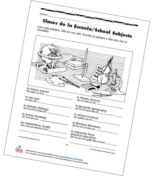School Subjects Grade 3 Bilingual Free Printable Worksheet