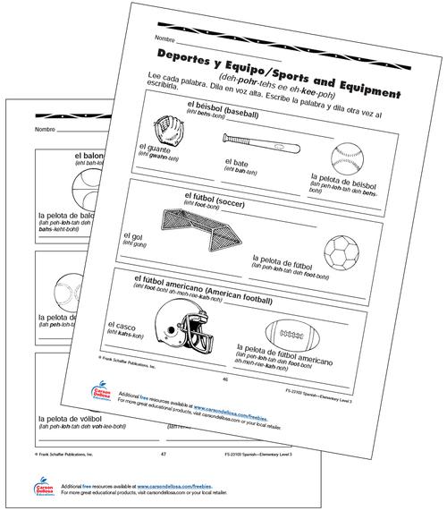 Sports and Equipment Grade 3 Bilingual Free Printable Worksheet