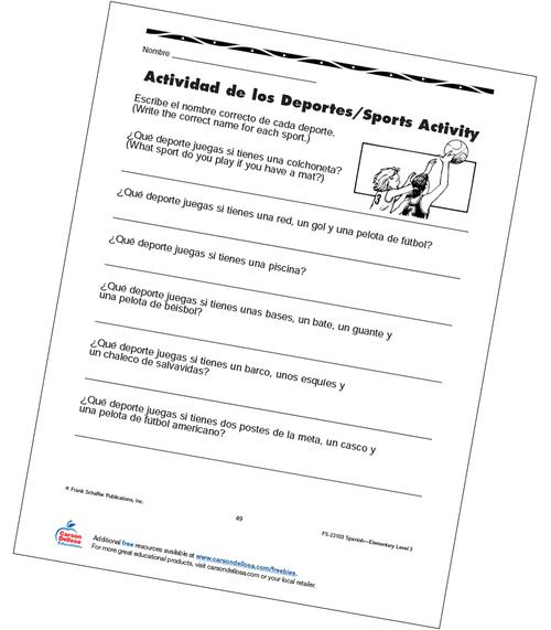 Sports Activity Grade 3 Bilingual Free Printable Worksheet
