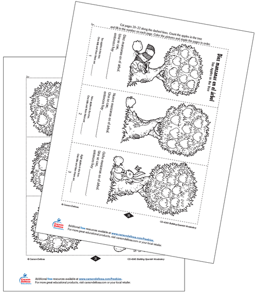 Ten Apples in the Tree Grade PK-12 Spanish Interactive Free Printable Activity