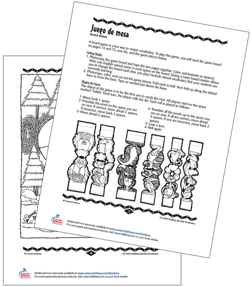 Animal Board Game Grade PK-12 Spanish Free Printable Activity