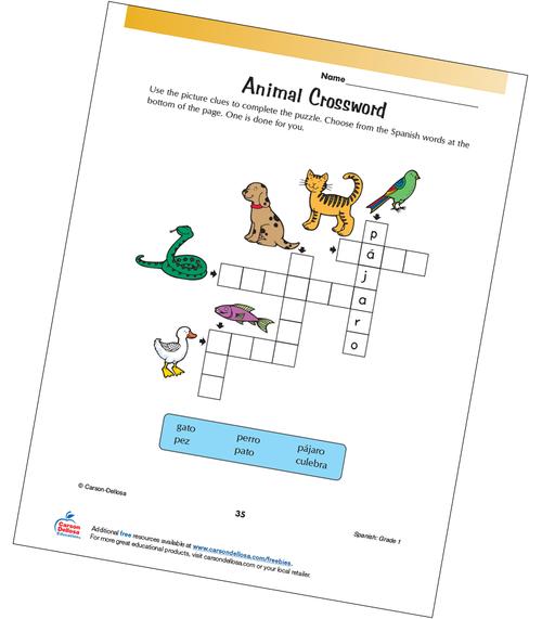 Animal Crossword Grade 1 Spanish Free Printable Activity