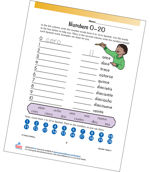Numbers 0-20 Grade 2 Spanish Free Printable Worksheet