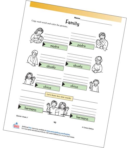 Family Members Grade 2 Spanish Free Printable Worksheet