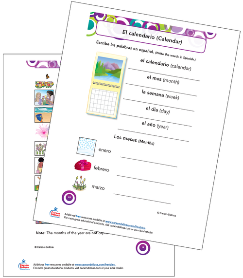 Calendar Vocabulary Grade K-5 Spanish Free Printable